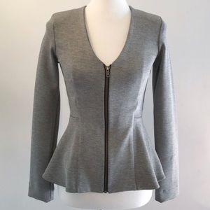 TOPSHOP V neck grey peplum jacket